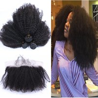 Mongolian Afro Kinky Curly Hair With Lace Frontal Closure 3 ...