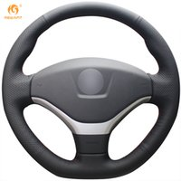 Custom Mewant Black Genuine Leather Car Steering Wheel Cover...