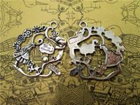 15pcs de prata antigo tibetano Alice no país das maravilhas grinalda Charme pingentes 42x41mm