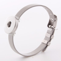 Adjustable Stainless Steel Straps Snap Button Bracelet Fashi...