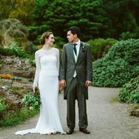 39bf58f3f0 Vestidos de novia de encaje de manga larga para vaina de novia Vestidos de  novia sencillos