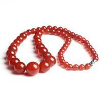 Alta Calidad 8mm Collar de Piedra de Ágata Roja de Ágata Moda Granos Redondos Collar de Jade de Regalo para Las Mujeres Joyería de Jade
