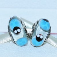 5pcs argento 925 vite blu coccinelle in vetro di murano tallone adatto europeo pandora gioielli braccialetti con ciondoli collane pendenti MU066