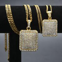 Hip Hop Bling Crystal Iced Out Gioielli 24K placcato oro Piazza Dog Tag Pendenti Collana lunga catena cubana Mens donna regali