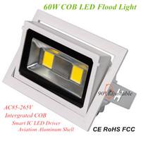 Yüksek Verimlilik 60W LED Projektörler 100lm / W Entegre COB Kapalı Spot Lamba 90 Derece Açılı Döner Gömme COB LED Downlight