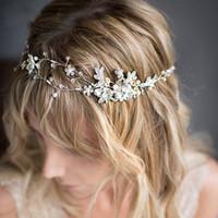 Hohe Qualität Silber Rose Gold Flexible Stirnband Kristall Strass Floral Haarband Hand Perlen Hochzeit Braut Haarschmuck Kostenloser Versand