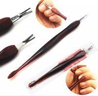 Bıçak Çiviler Tırnak Eti İtici Tırnak Sanat Kaşık Ongle Pedikür Manicura Bakımı Temizleyici Quitacuticulas Removedor De cutícula Mor