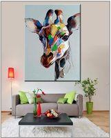В рамке Pure Handpainted Современный Abctract Animal Art Картина Маслом Красочные Жираф, на Холсте Высокого Качества Для Домашнего Декора Multi размеры