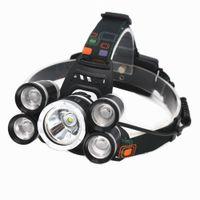 5leds farol 18000lm Cree T6 + 4 * XPE LED Lâmpada À Prova D 'Água Zoomable Light + Carregador de Carro + Carregador de Parede para Caça de Ridadão