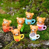 Miniature Colorful Bear In Cup Handicraft Moss Terrarium Mic...