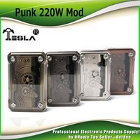 Оригинальный Tesla Punk 220W TC Mod Приведено в действие двойным 18650 батарейным модулем Mod Ecig Vape Mods 4 Rainbow Colors 100% Authentic Teslacigs