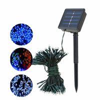 12 m 22 m LED Güneş Dize Işık 100 LEDs 200Leds Güneş Enerjisi Peri Işıkları Su Geçirmez Açık LED Noel Işıkları Bahçe Parti Dekor Için
