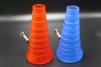 1pcs / lot 2016 New Arrivel Disponível bolso dobrável Bong Com 3 cores Plastic Água Bongos 20 centímetros Extensible Altura de alta qualidade Bongs