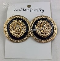 NEW 14 Gold Plating Jewelry Black Lion Head Stud Earrings Go...