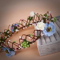 Bridal Wedding Handmade Hand Knit Colorful flowers Garland Headdress Bridal Headband Crown 2018 Romantic Bridal Tiaras Jewelry Accessories