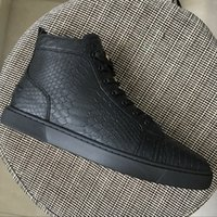 New 2018 men women black fishskin pattern leather high top s...