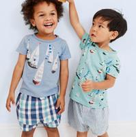BST29 Neuheiten 2017 Little Maven Kids 100% Baumwolle kurzarm cartoon multi shippes druck jungen set kausalen sommer jungen set t shirt + hose