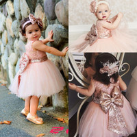 Baby Infant Toddler Birthday Party Dresses Blush Pink Rose G...