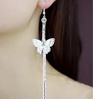 Corée du Sud bijoux en argent 925 populaire feuilles papillon étoile à cinq branches pendentif diamant gland de longues boucles d'oreilles en gros