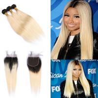 Ombre цвет #1B 613 уток волос с закрытием шнурка 4x4 перуанский шелковистой Прямой 3 пучки девственные волосы ткет с закрытием