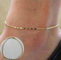 Boho Gold Tone Ankle Bracelet Catena a maglia Donna Cavigliera Catena a piede Spiaggia Bracciali gioielli Fascini a forma di piede