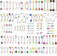 105pcs / set mix akryl rostfritt stål ögonbryn navel rings mage läpp tunga ring näsa bar ringar kropp piercing smycken c060