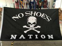 Nation Keine Schuhe Benutzerdefinierte Flagge fliegende Design 3x5 ft 100d Polyester-Banner mit zwei Metallzüchtern