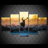 5 Pz / set Incorniciato HD Stampato Africano Tramonto Cervo Animale Immagine Wall Art Canvas Room Decor Poster Tela Astratta Pittura A Olio