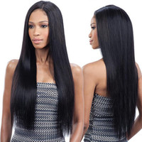 Wholesale charming simulation human hair full wigs long stra...