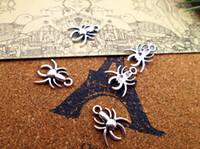 90pcs- العنكبوت سحر العتيقة الفضة التبتية العنكبوت سحر المعلقات 17x14mm