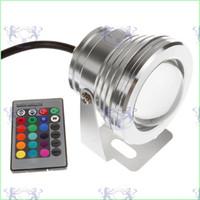 10W RGB Proiettore luce subacquea LED luce di inondazione Piscina esterna impermeabile Illuminazione Paesaggio Lampada rotonda DC 12V + telecomando