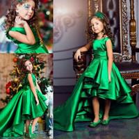 Hallo Lo Green Satin Eine Linie Falten Schärpe Mädchen Blume Mädchen Kleider Kinder Formale Kinder Geburtstag Kleider Mädchen Pageant Kleider