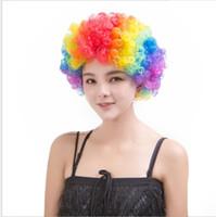 Парики партии красочные афро клоун волос ребенок взрослый костюм футбол вентилятор парик волос Хэллоуин Радуга парик для удовольствия