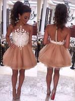 2017 A-Line Jewel Sans Manches Courtes Champagne Prom Dresse avec Dentelle Blanche De Mode Homecoming Dress Sexy Party Robes De Soirée
