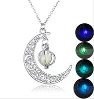 Свечение в темный камень ожерелье светящиеся бусины сквош Луна кулон ожерелье ювелирные изделия на Рождество Хэллоуин подарок