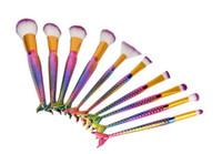 Nuevo pincel de maquillaje Rainbow Mermaid Pinceles de maquillaje ovalado 5pcs set Pinceles de maquillaje Rainbow Pro Powder Cream Blush Fish Tail Brush