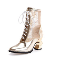 2017 Europe and the United States style wild women's cool boots mirror mesh yarn spike tie with a female sandals sale from china LYCuvSD
