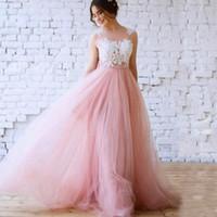 Румяна розовый трапеция свадебные платья Vestido де новия иллюзия Бато декольте Sheer обратно кружева аппликации видеть сквозь верхнюю тюль юбка платье