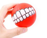 New Pet Puppy Dog Funny Ball Teeth Silicon Toy Chew Sound Do...