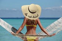 2019 Femmes Large Brim Broderie Chapeau De Paille Beach Cap Chapeaux De Soleil Pliables 6 couleurs Livraison gratuite