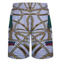 Toptan-Yeni Yaz Erkek Şort Harajuku 3D Zincir Desen Bermuda Homme Şort erkek Hip Hop Mesh Nefes Plaj Kısa Pantolon