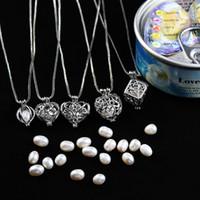100% natürlicher Perlenkäfig Anhänger 925 reines Silber Anhänger romantisch nur schöne herzförmige aushöhlen Transport Perle Halskette Anhänger