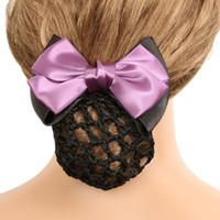 Nouveau Élégant Solide Couleur Satin Arc Barrette Lady Cheveux Clip Couverture Bowknot Bun Snood Femmes Cheveux Accessoires