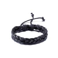 Vintage Unisex Herren Womens Geflochtene Schwarz Leder Manschette Armreif Armband Wrap Armband Surfer Armband Biker Herren Schmuck
