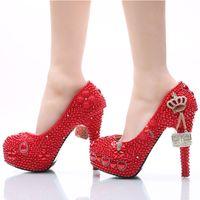 Zapatos de boda hechos a mano Perla roja y diamantes de imitación zapatos de novia Plataforma del dedo del pie redondo Mujeres Party Prom Tacones altos más el tamaño 11 y 12