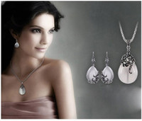 JEXXI New Retro Silver Fashion Opal Water Drop Flower Pendan...