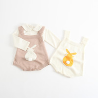 Boutique Baby girl clothes Bunny Knit Romper Strap overall B...