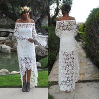 Fuera del hombro Vestido de novia de manga larga con manga larga y bajo bohemio bordado con mangas de campana sutiles Vestido de novia vestido de casamento