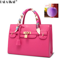 Wholesale-Famous Designer Ribbon Handbag Women Tote Handbags with Scarf & Lock  Saffiano Leather Bags Crossbody Bag Gift BWC0448-5