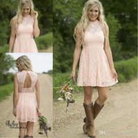 Modest Country Western Full Lace Peach Kurz Spitze Brautjungfer Kleider Eine Linie High Neck Sleeveless Hochzeitsfeier Formale Tragen